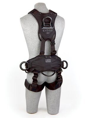 3M™ DBI-SALA® ExoFit NEX™ Rope Access/Rescue Harness, Black-Out, Aluminum front, back and side D-rings, locking quick-connect buckles and hybrid comfort padding, black-out, 1113370 1113371 1113372 1113373, rear