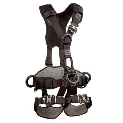 3M™ DBI-SALA® ExoFit NEX™ Rope Access/Rescue Harness, Black-Out, Aluminum front, back and side D-rings, locking quick-connect buckles and hybrid comfort padding, black-out, 1113370 1113371 1113372 1113373, front 2