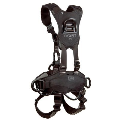 3M™ DBI-SALA® ExoFit NEX™ Rope Access/Rescue Harness, Black-Out, Aluminum front, back and side D-rings, locking quick-connect buckles and hybrid comfort padding, black-out, 1113370 1113371 1113372 1113373, rear 2