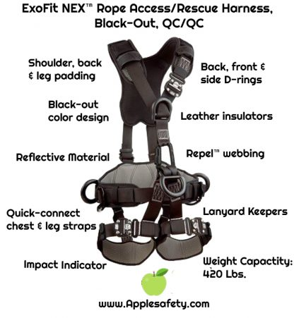 3M™ DBI-SALA® ExoFit NEX™ Rope Access/Rescue Harness, Black-Out, Aluminum front, back and side D-rings, locking quick-connect buckles and hybrid comfort padding, black-out, 1113370 1113371 1113372 1113373, front chart