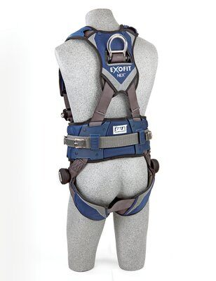 3M™ DBI-SALA® ExoFit NEX™ Mining Vest-Style Harness, Aluminum back & side D-rings, locking quick connect buckles, sewn in hip pad & belt, lumbar protection, 1113195 1113196 1113197 1113199, rear