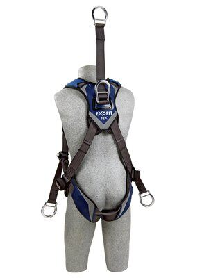 "3M™ DBI-SALA® ExoFit NEX™ Oil and Gas Harness, 18"" back D-ring extension, lifting D-rings, tongue buckle legs and connection for 1003220 derrick belt, comfort padding, 1113285 1113286 1113287 1113288, rear"