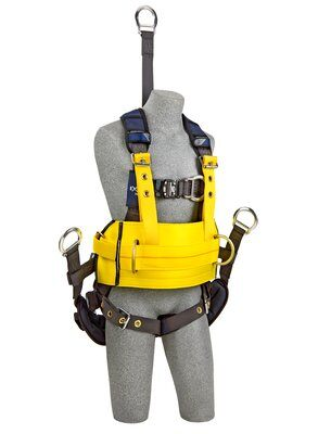 "ExoFit NEX™ Oil and Gas Positioning/Climbing Harness, TB/PT, 18"" extension, derrick attachments, hip pad & belt and rigid seat sling, use with1003230 derrick belt, 1113295 1113296 1113297 1113298, front"