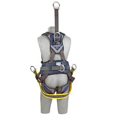 "ExoFit NEX™ Oil and Gas Positioning/Climbing Harness, TB/PT, 18"" extension, derrick attachments, hip pad & belt and SOFT seat sling, use with1000570 derrick belt, 1113290 1113291 1113292 1113293, rear"