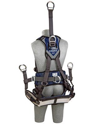 "ExoFit NEX™ Oil and Gas Positioning/Climbing Harness, TB/PT, 18"" extension, derrick attachments, hip pad & belt and rigid seat sling, use with1003230 derrick belt, 1113295 1113296 1113297 1113298, rear"
