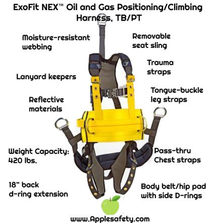"ExoFit NEX™ Oil and Gas Positioning/Climbing Harness, TB/PT, 18"" extension, derrick attachments, hip pad & belt and rigid seat sling, use with1003230 derrick belt, 1113295 1113296 1113297 1113298, front chart"