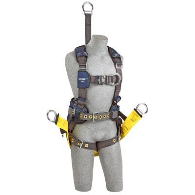 "ExoFit NEX™ Oil and Gas Positioning/Climbing Harness, TB/PT, 18"" extension, derrick attachments, hip pad & belt and SOFT seat sling, use with1000570 derrick belt, 1113290 1113291 1113292 1113293, front"
