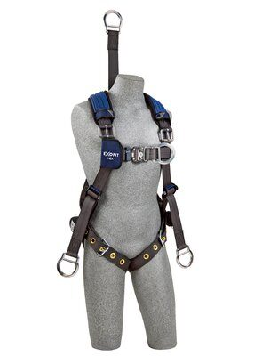 "3M™ DBI-SALA® ExoFit NEX™ Oil and Gas Harness, 18"" back D-ring extension, lifting D-rings, tongue buckle legs and connection for 1003220 derrick belt, comfort padding, 1113285 1113286 1113287 1113288, front"