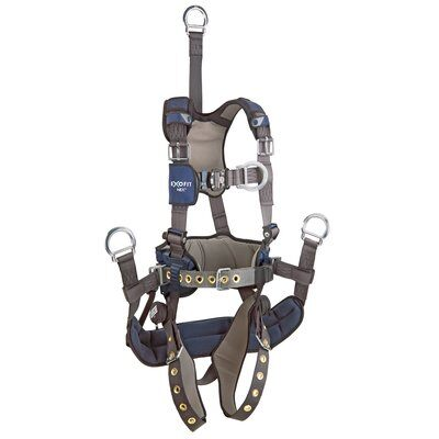 "ExoFit NEX™ Oil and Gas Positioning/Climbing Harness, TB/PT, 18"" extension, derrick attachments, hip pad & belt and rigid seat sling, use with1003230 derrick belt, 1113295 1113296 1113297 1113298, front 2"