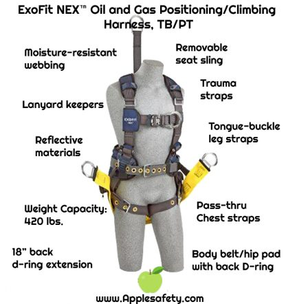 "ExoFit NEX™ Oil and Gas Positioning/Climbing Harness, TB/PT, 18"" extension, derrick attachments, hip pad & belt and SOFT seat sling, use with1000570 derrick belt, 1113290 1113291 1113292 1113293, front chart"