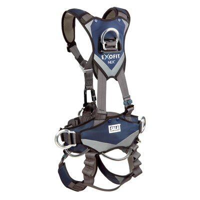 3M™ DBI-SALA® ExoFit NEX™ Rope Access/Rescue Harness, Aluminum front, back and side D-rings, locking quick-connect buckles and hybrid comfort padding, 1113345 1113346 1113347 1113348, rear