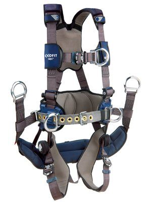 3M™ DBI-SALA® ExoFit NEX™ Tower Climbing Harness, Aluminum front, back & side D-rings, locking quick connect buckles with sewn in hip pad & belt, removable seat sling with positioning D-rings, 1113190 1113191 1113192 1113193, front