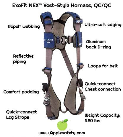 ExoFit NEX™ Vest-Style Harness, QC/QC, Aluminum back D-ring, locking quick connect buckles, 1113001 1113004 1113007 1113010, front chart