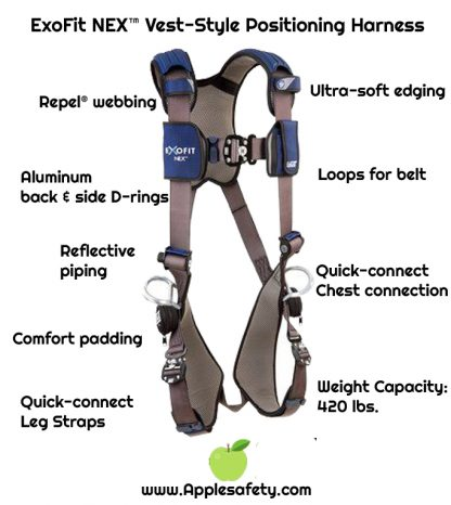 3M™ DBI-SALA® ExoFit NEX™ Vest-Style Positioning Harness, Aluminum back & side D-rings, locking quick connect buckles, 1113046 1113049 1113052 1113055, front chart