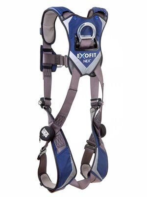 ExoFit NEX™ Vest-Style Climbing Harness, QC/QC, Aluminum front & back D-rings, locking quick connect buckles, 1113031 1113034 1113037 1113040, rear