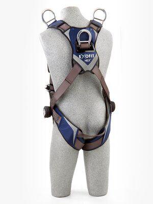 3M™ DBI-SALA® ExoFit NEX™ Vest-Style Retrieval Harness, Aluminum back & shoulder D-rings, locking quick connect buckles, 1113061 1113064 1113067 1113070, rear