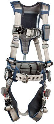ExoFit STRATA™ Construction Style Positioning/Climbing Harness, Aluminum back, front, and side D-rings, Tri-Lock Revolver™ quick connect buckles, waist pad and belt, 1112540 1112541 1112542 1112543, front