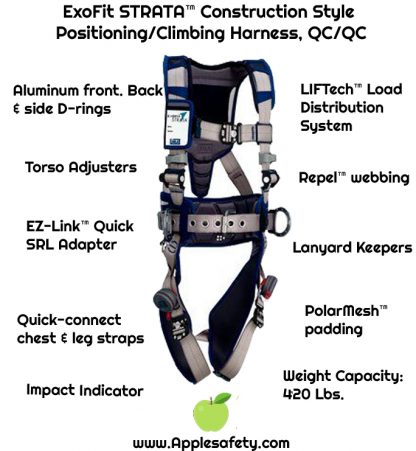 ExoFit STRATA™ Construction Style Positioning/Climbing Harness, QC/QC, Aluminum back, front, and side D-rings, Duo-Lok™ quick connect buckles, waist pad and belt, 1112555 1112556 1112557 1112558, HARN LQC CON VD 2D SMSTRATA,PAD,BELT, front chart