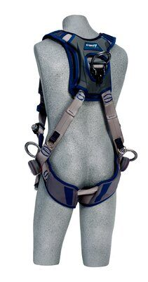 ExoFit STRATA™ Vest-Style Positioning/Climbing Harness, Aluminum back, front, and side D-rings, Tri-Lock Revolver Quick-Connect Buckles, comfort padding, 1112490 1112491 1112492 1112493, rear