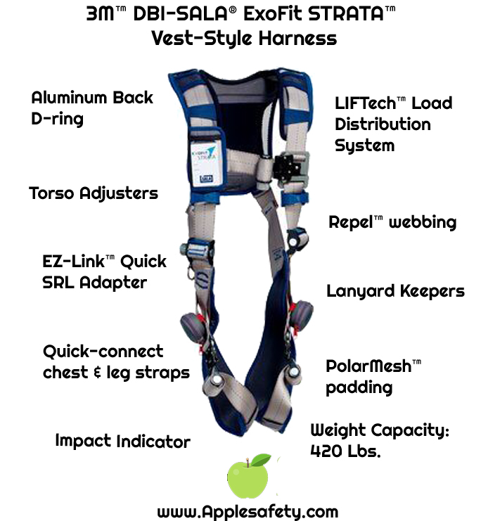 3M™ DBI-SALA® ExoFit STRATA™ Vest-Style Harness, Aluminum back D-rings, Tri-Lock Revolver™ Quick-Connect Buckles, comfort padding., 1112475 1112476 1112477 1112478, front chart