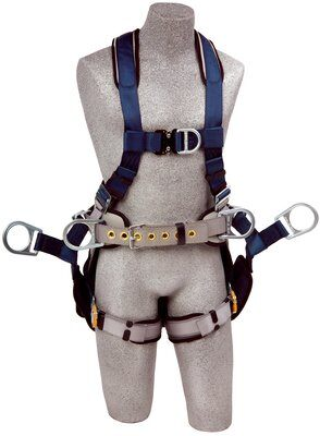 ExoFit™ Tower Climbing Harness, QC/QC, Front & back D-rings, belt with back pad & side D-rings, removeable seat sling with positioning D-rings, quick-connect buckles, 1108650 1108651 1108652 1108657, front 2