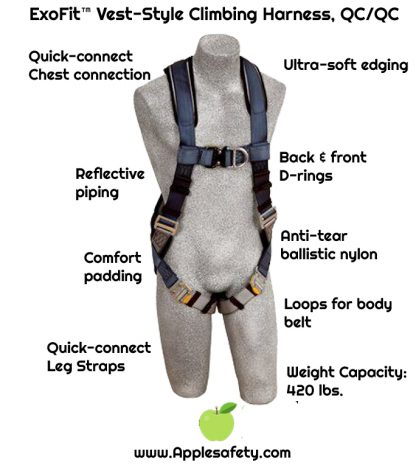 ExoFit™ Vest-Style Climbing Harness, Front & back D-rings, loops for belt, quick-connect buckles, 1108525 1108526 1108527 1108532, chart