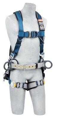 ExoFit™ Wind Energy Harness, PVC-coated, QC/QC, Quick connect buckle legs, coated front, back & side D-rings; Sewn in hip pad & belt with tool loops, 1102385 1102386 1102387 1102388, front