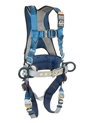 ExoFit™ Wind Energy Harness, PVC-coated, QC/QC, Quick connect buckle legs, coated front, back & side D-rings; Sewn in hip pad & belt with tool loops, 1102385 1102386 1102387 1102388, front 2