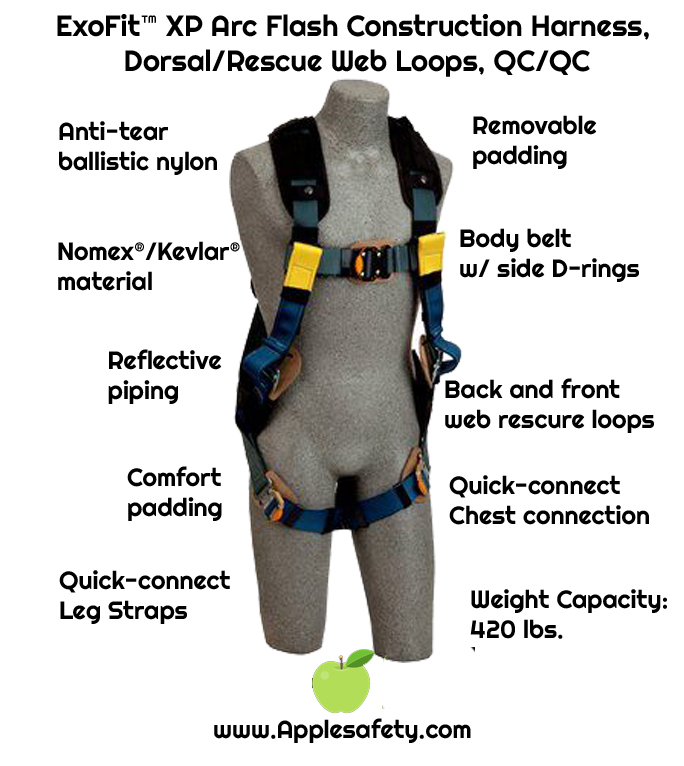 ExoFit™ XP Arc Flash Construction Harness, Dorsal/Rescue Web Loops, QC/QC, Back and front web rescue loops, belt with pad and side D-rings, comfort padding with Nomex®/Kevlar® fiber, nylon web, leather insulators, quick connect buckle leg straps, 1110850 1110851 1110852 1110853, front chart