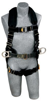 ExoFit™ XP Arc Flash Construction Harness, QC/QC, PVC coated back D-ring, belt with pad and side D-rings, Nomex®/Kevlar® fiber webbing and comfort padding, leather insulators, quick connect buckle leg straps, 1111300 1111301 1111302 1111303, front