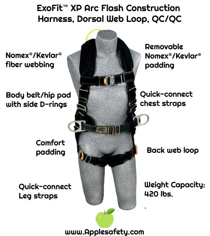 ExoFit™ XP Arc Flash Construction Harness, Dorsal Web Loop, QC/QC, Back web loop, quick connect buckles, back, leg & hip Nomex® /Kevlar® fiber pads, Kevlar® fiber pass thru body belt, 1110880 1110881 1110882 1110883, front chart