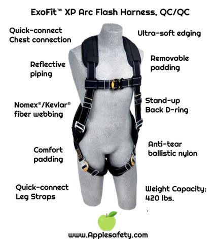 ExoFit™ XP Arc Flash Harness, QC/QC, Vest style, back D-ring, Nomex® / Kevlar® back/leg pads, quick connect buckles, 1100940 1100941 1100942 1100943, chart