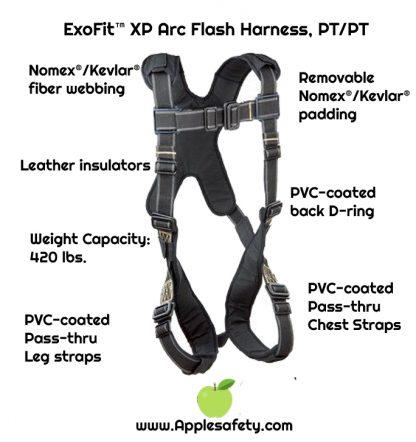 ExoFit™ XP Arc Flash Harness, PT/PT, PVC coated hardware, pass thru buckles, back & leg Nomex®/Kevlar® fiber pads, 1110890 1110891 1110892 1110893, front chart