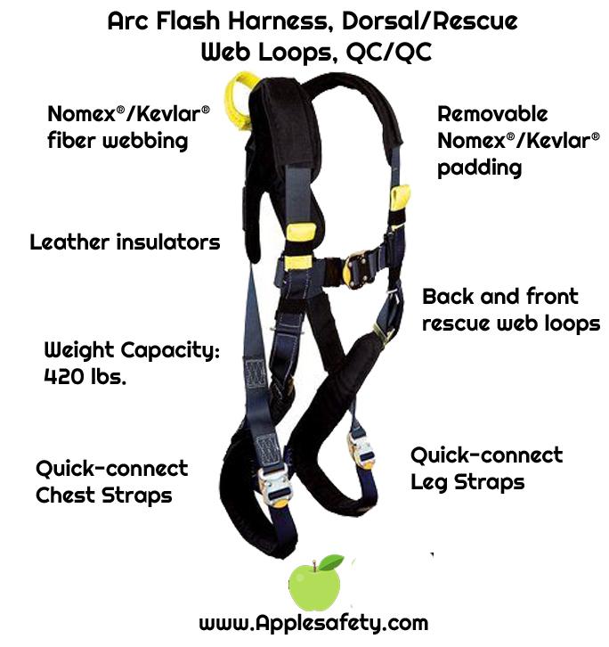 Arc Flash Harness, Dorsal/Rescue Web Loops, QC/QC, Removable Nomex® / Kevlar® fiber padding, 7000 lb nylon web, back web loop, quick connect buckles, back & leg Nomex® / Kevlar® fiber pads, leather insulators, rescue loops, 1110840 1110841 1110842, front chart