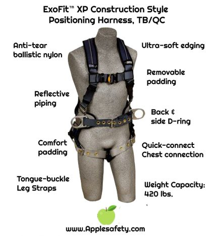 ExoFit™ XP Construction Style Positioning Harness, TB/QC, Back D-ring, sewn in back pad & belt with side D-rings, tongue buckle legs, 1110175 1110176 1110177 1110178, front chart