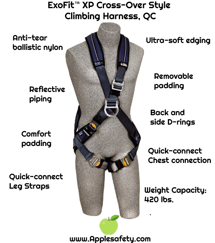 ExoFit™ XP Cross-Over Style Climbing Harness, QC, Front & back D-rings, loops for belt, quick-connect buckles, 1109800 1109801 1109802 1109803, chart