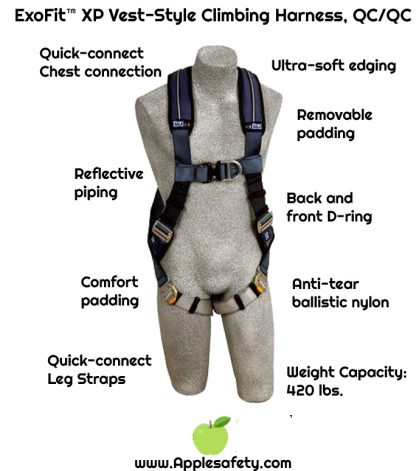 ExoFit™ XP Vest-Style Climbing Harness, QC/QC, Front & back D-rings, loops for belt, quick-connect buckles, 1109725 1109726 1109727 1109728, chart