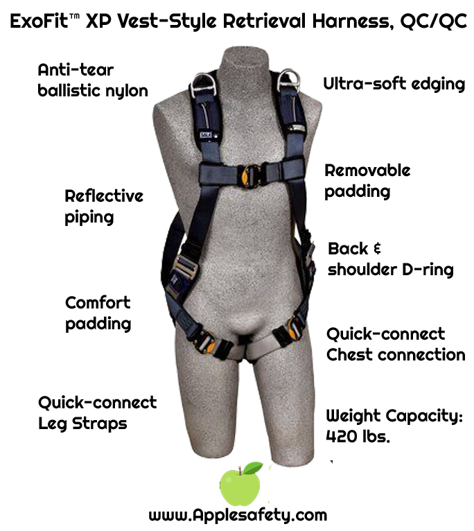 3M™ DBI-SALA® ExoFit™ XP Vest-Style Retrieval Harness, Back & shoulder D-rings, loops for belt, quick-connect buckles, 1110375 1110376 1110377 1110378, chart