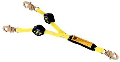 1241480 - 3M™ DBI-SALA® Retrax™ 100% Tie-Off Shock Absorbing Lanyard, 6 ft. (1.8m) double-leg 100% tie-off retractable web and snap hooks at each end