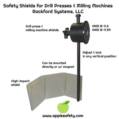 "Safety Shields for Drill Presses & Milling Machines Rockford Systems, LLC, Adjust and lock in any vertical position. Protects Personnel 3/16"" High-impact Shield Ideal for Drill Presses & Milling Machine Can be mounted magnetically or directly ANSI B-11.6, ANSI B-11.89"