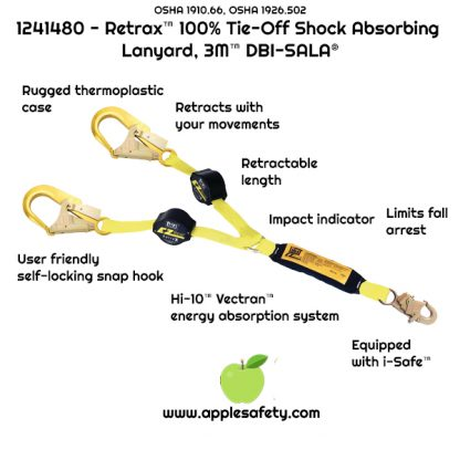 1241480 - Retrax™ 100% Tie-Off Shock Absorbing Lanyard, 3M™ DBI-SALA®, 1241480 1241481 1241482, 6 ft. (1.8m) double-leg 100% tie-off retractable web and snap hooks at each end, front, applesafety chart