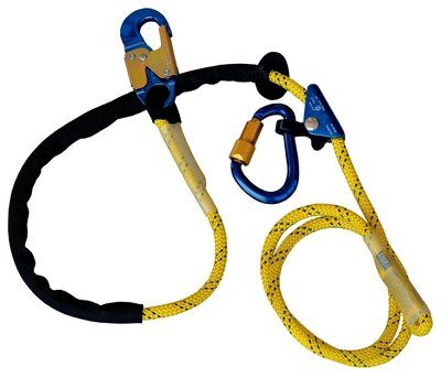 1234071 - 8 ft. (2.4m) adjustable rope positioning lanyard with rope adjuster and aluminum carabiner and snap hook.