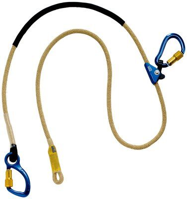 1234080 - 8 ft. (2.4m) adjustable rope positioning lanyard with aluminum carabiner at one end, rope adjuster and aluminum carabiner at other end