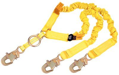 1244455 - 6ft. Double-leg 100% Tie-off Rescue Shock Absorbing Lanyard, SRL D-ring / Snap Hooks, 6 ft. (1.8m) double-leg 100% tie-off with elastic web, D-ring for SRL or rescue at center with snap hooks at ends, front chart