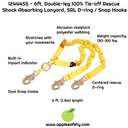 1244455 - 6ft. Double-leg 100% Tie-off Rescue Shock Absorbing Lanyard, SRL D-ring / Snap Hooks, 6 ft. (1.8m) double-leg 100% tie-off with elastic web, D-ring for SRL or rescue at center with snap hooks at ends, front