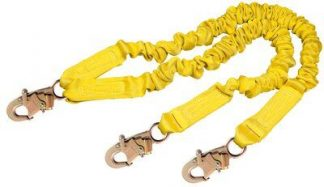 1244406, SHOCKWAVE2 100% 6'9502116 ENDS, 6 ft. (1.8m) double-leg 100% tie-off with elastic web and snap hooks at ends, front, chaRT 2