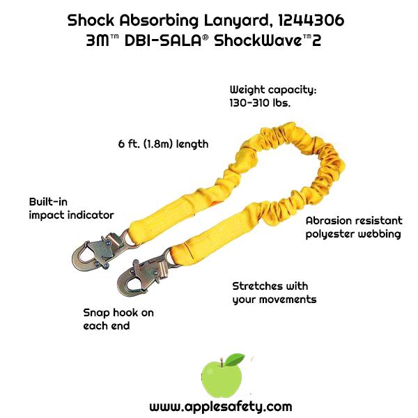 3M DBI-SALA Shockwave 2 Alum Rebar Hook On Leg End Yellow Snap Hook On Other 1244311 6 Shock Absorbing Lanyard Tubular Web