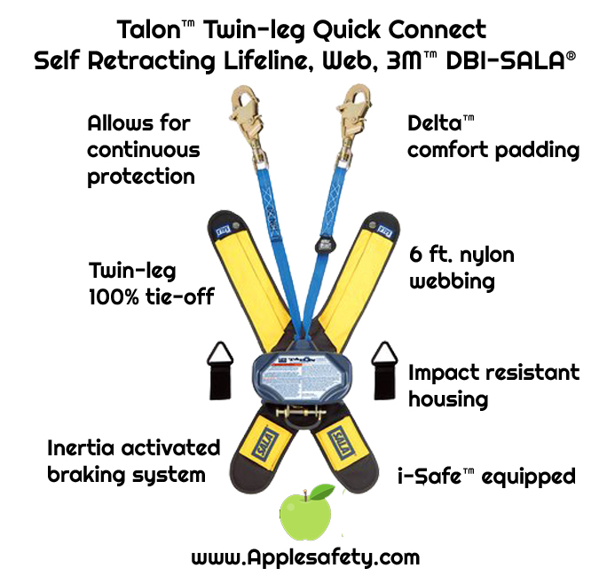 Talon™ Twin-leg Quick Connect  Self Retracting Lifeline, Web, 3M™ DBI-SALA®, front