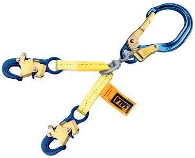 "1231520 - 22"" (56cm) web rebar assembly with swiveling aluminum rebar hook at center, aluminum snap hooks at leg ends"