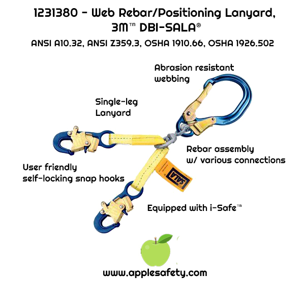 "1231380 - 18"" (45cm) web rebar assembly with aluminum rebar hook at center, snap hooks at leg ends, front, chart"